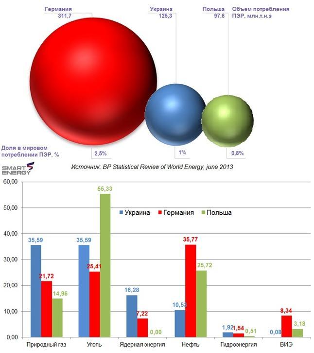 Рис.№1. Объем и структура потребления ПЭР в 2012 году (данные ВР), %