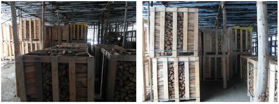 Дубовые дрова сухие в ящиках